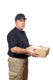 Courier delivering a package Stock Photos
