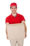 Courier delivering a parcel Stock Photography