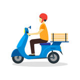 Courier Delivering Pizza. Vector Stock Images
