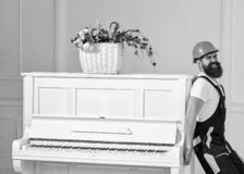 Courier delivers furniture, move out, relocation. Man with beard worker in helmet and overalls pushes, put efforts to. Move piano, white background. Heavy loads stock photo