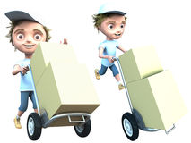Courier delivers a packages Stock Photo