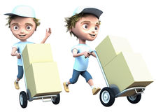 Courier delivers a packages Stock Photos