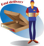 Courier delivery of goods and square packing. Vector image Stock Photo