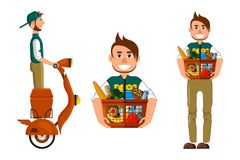 Courier delivery and hands over the order. Supermarket basket with food vector illustration