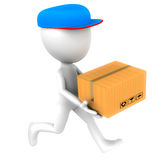 Courier delivery man. Running to deliver a parcel box, courier, shipping and cargo concept Stock Image