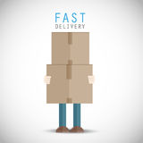 Courier delivery man. Abstract background Stock Photography