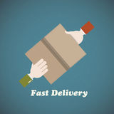 Courier delivery man hand and buyer hand. Abstract design Royalty Free Stock Images