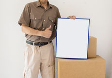 Courier delivery offers his services Stock Photo