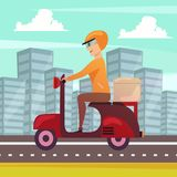 Courier Delivery Orthogonal Background Poster. Courier delivery orthogonal poster with motorbike dispatch rider in modern urban center street cityscape royalty free illustration