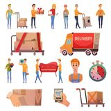 Courier Delivery Orthogonal Icons Set. Courier secure delivery service orthogonal icons collection with parcels dispatch transportation and handling equipment royalty free illustration