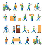 Courier, delivery, postman people. Flat style Royalty Free Stock Photos