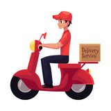 Courier, delivery service worker riding scooter, motorcycle loaded with boxes. Cartoon vector illustration isolated on white background. Young courier Stock Image