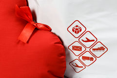 Courier delivery symbols and red heart closeup Stock Photography