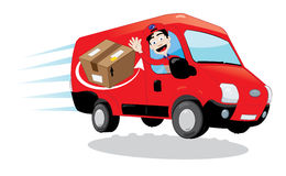 Courier driving a delivery van Stock Image