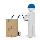 Courier figure hand truck. Make signs package Royalty Free Stock Photos