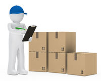 Courier figure package royalty free illustration