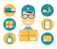 Courier flat character and delivery flat illustration icons. Stock Photo