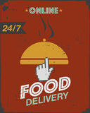 Courier food delivery poster Royalty Free Stock Photos