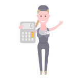 Courier girl with calculator Royalty Free Stock Photos