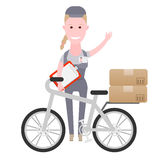 Courier girl delivery by bike. Illustration of courier on white background Stock Photo