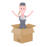 Courier girl in the delivery box Stock Photos