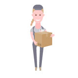 Courier girl delivery box Royalty Free Stock Photos