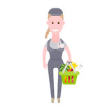 Courier girl delivery of food from the store. Illustration of courier on white background Stock Photo