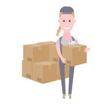 Courier girl delivery of a large batch. Illustration of courier on white background Royalty Free Stock Photography