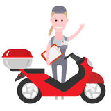 Courier girl delivery of products on a scooter Royalty Free Stock Images