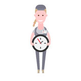 Courier girl holds clock Royalty Free Stock Photo