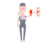 Courier girl holds megaphone Stock Photo