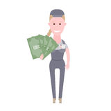 Courier girl holds money Royalty Free Stock Image