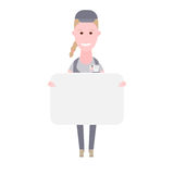 Courier girl holds a presentation card Royalty Free Stock Photos
