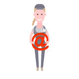 Courier girl holds a sign email Stock Images