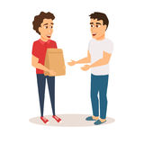 Courier gives order to buyer. Food delivery service. Man courier holds grocery paper bag and gives order to buyer. Purchaser receives the order from restaurant Royalty Free Stock Photo