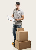 Courier hand truck boxes and packages Royalty Free Stock Photography
