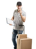 Courier hand truck boxes and packages Stock Photography