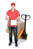 Courier. Happy smiling delivery man carrying boxes isolated on white background Stock Image