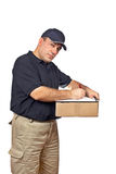 Courier holding the box Royalty Free Stock Image