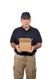 Courier holding a open box Stock Photo