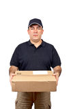 Courier holding a package Royalty Free Stock Photos