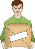 Courier holds box Royalty Free Stock Image