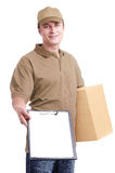 Courier in khaki uniform Royalty Free Stock Photos