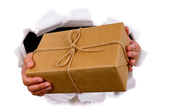 Courier or mail man delivering or holding parcel through torn white paper background Stock Image