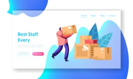 Courier Man Carry Box. Package Mail Delivery Service, Postage Transportation. Loader Bringing Packing in Post Office Warehouse. Website Landing Page, Web Page royalty free illustration