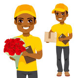 Courier Man Flower And Parcel Stock Photos