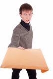Courier with a package. Teenager - courier with a package (letter)  on white Stock Image