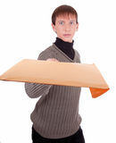 Courier with a package Royalty Free Stock Photo