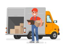 Courier with the parcel on the background of the delivery service van. Vector illustration in a flat style royalty free illustration