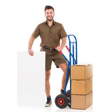 Courier posing with a white placard Stock Images